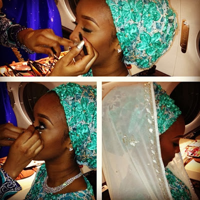 Brides make up was done on her way to Kano in a private jet