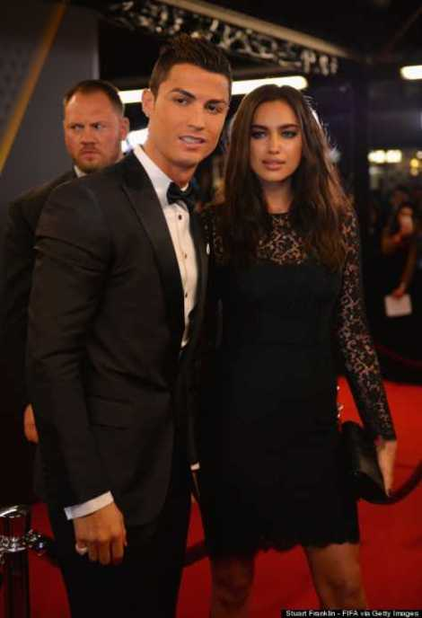 Cristiano Ronaldo arrive at the awards ceremony with his girlfriend Irina Shayk